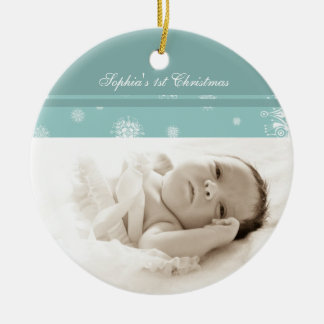 Teal Photo Baby's 1st Christmas Ornament