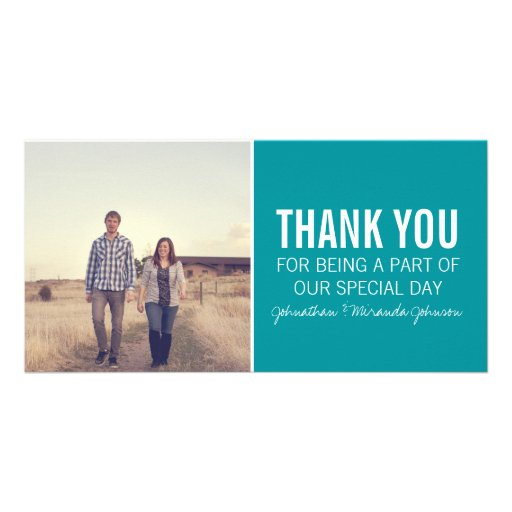 Teal Photo Thank You Cards Photo Greeting Card