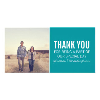 Teal Photo Thank You Cards Picture Card