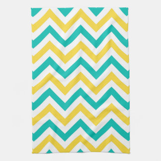 Teal, Pineapple, Wht Large Chevron ZigZag Pattern Towel