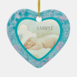 Teal Pink Abstract Art Photo Template Ceramic Ornament