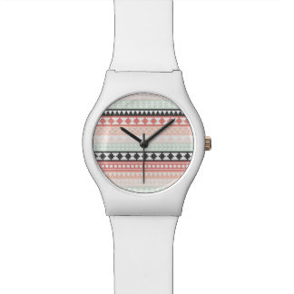 Teal, Pink and Gray Tribal Aztec Pattern Wrist Watch