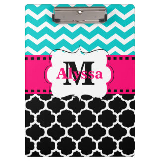 Teal Pink Black Chevron Quatrefoil Personalized Clipboard
