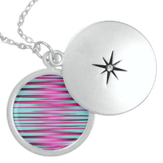 Teal, PInk, & Black Stripes Necklace