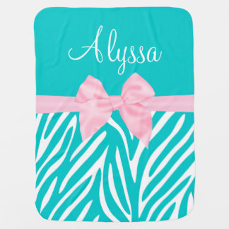 Teal Pink Bow Zebra Personalized Baby Blanket