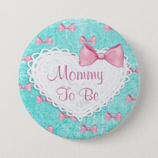 Teal Pink Bows Mommy to be Baby Shower button