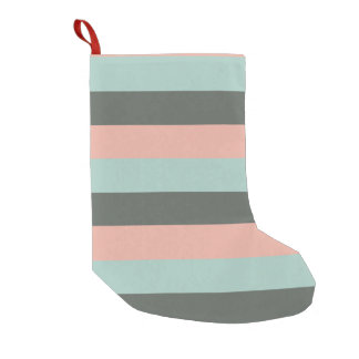 Teal Pink Gray Stripes Pattern Small Christmas Stocking