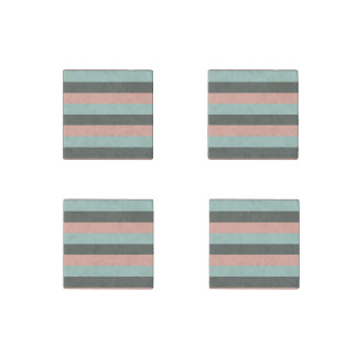 Teal Pink Gray Stripes Pattern Stone Magnets