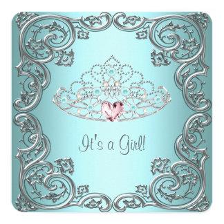 Teal Pink Heart Tiara Princess Baby Shower Card