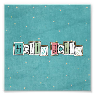 Teal Pink Holly jolly Christmas Chic Photo