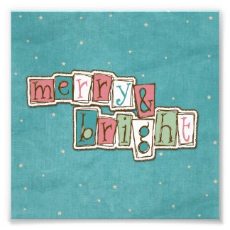 Teal Pink Merry and Bright Christmas Photograph