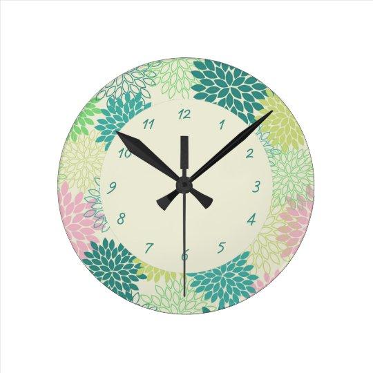 Teal & Pink Mums Clock