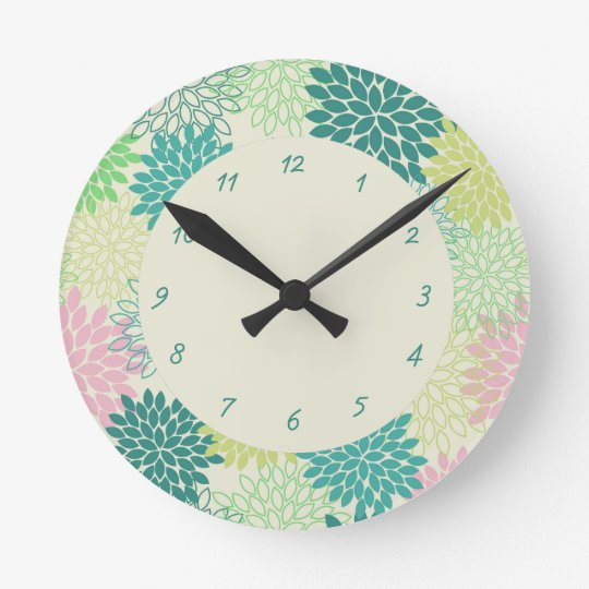 Teal & Pink Mums Round Clock