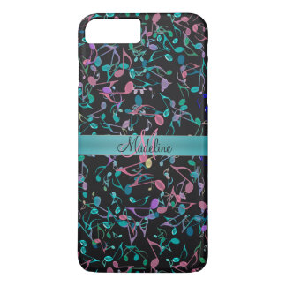 Teal Pink Music Notes Personalized iPhone 7 Case