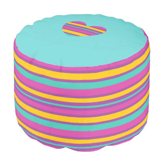 Teal, PInk, Orange and Purple Heart Pouf