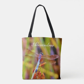 Teal Pink Purple dragonfly w/ Name Tote Bag