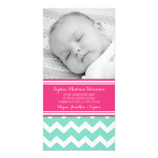 Teal Pink Thank You Baby Shower Photo Cards