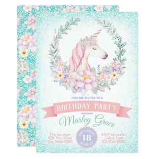 Teal Pink Unicorn Birthday Party Invitations
