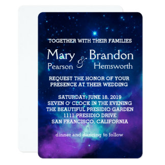 Teal Pink Universe Nebula Wedding Card