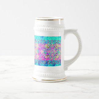 Teal Pink Vibrant Swirl Abstract Girly Collage 18 Oz Beer Stein