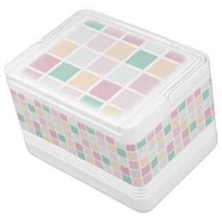 Teal Pink Yellow White Modern Square Pattern