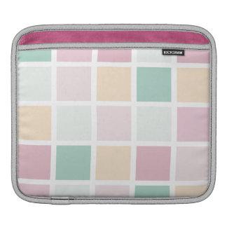 Teal Pink Yellow White Modern Square Pattern iPad Sleeve