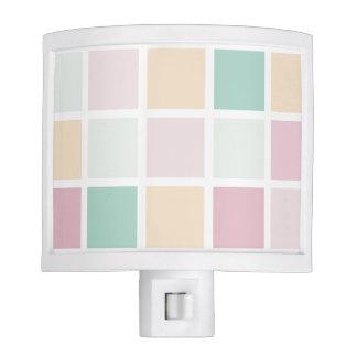 Teal Pink Yellow White Modern Square Pattern Nite Lites