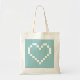 Teal pixelated heart icon tote bag | Pixel art