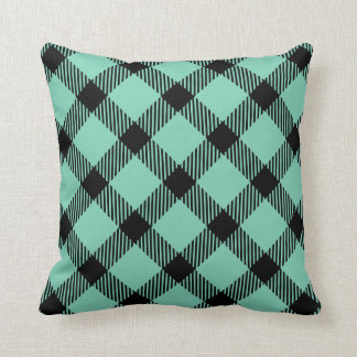 Teal Plaid Pattern | Changeable Background Pillow