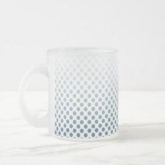 Teal Polka Dot Frosted Glass Coffee Mug