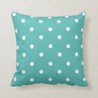 Teal Polka Dot Home Decor Throw Pillow