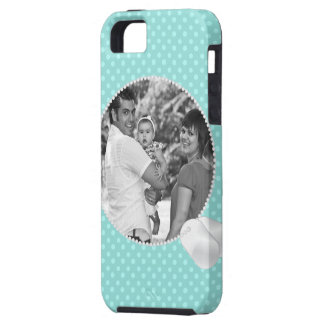 Teal Polka Dots and Dog Tags Photo iPhone4 Case