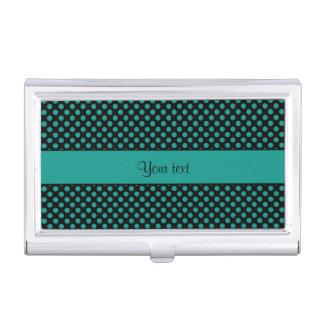 Teal Polka Dots Business Card Holder