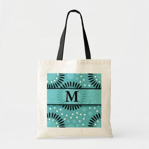 Teal Polka Dots Floral Monogrammed Tote Bags