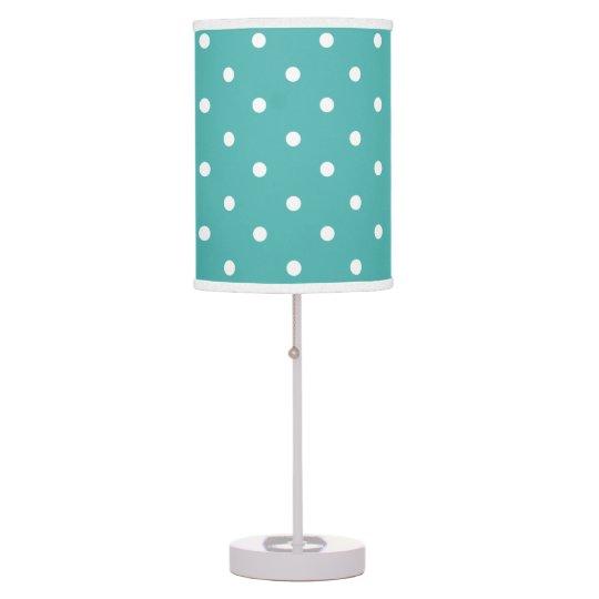 Teal Polka Dots Girls Room Decor Table Lamp