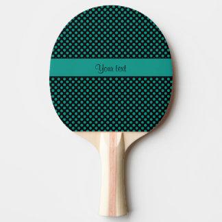 Teal Polka Dots Ping Pong Paddle