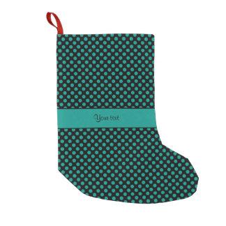 Teal Polka Dots Small Christmas Stocking