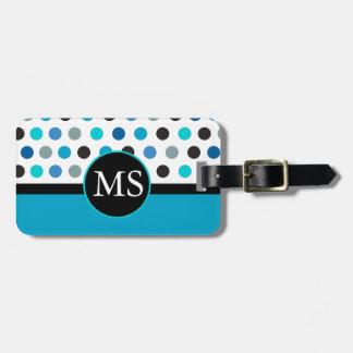 Teal Polka Dots Stripes Monogram Bag Tag
