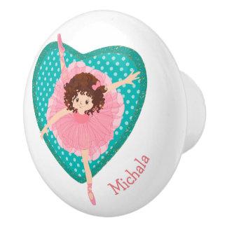 Teal Polkadot Heart Pink Ballerina Ceramic Knob