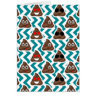 Teal Poop Emoji Pattern Card
