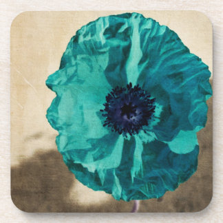 Teal Poppy Coaster Set