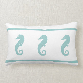 teal powder blue and white  SEAHORSE Lumbar Pillow