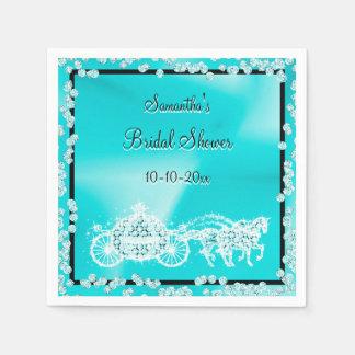 Teal Princess Coach & Horses Bridal Shower Paper Napkin