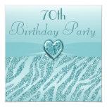 "Teal Printed Heart & Zebra Glitter 70th Birthday 5.25"" Square Invitation Card"