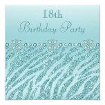 "Teal Printed Jewels & Zebra Glitter 18th Birthday 5.25"" Square Invitation Card"