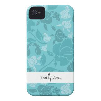 Teal Printed Rose Vines Pattern iPhone 4 Cases