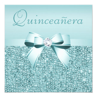 "Teal Printed Sequins & Bow Quinceanera 5.25"" Square Invitation Card"