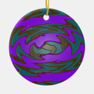 teal purple abstract art ceramic ornament