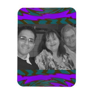 teal purple abstract photoframe rectangular photo magnet
