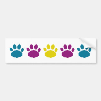 Teal, Purple, and Yellow Animal Paw Prints Bumper Sticker